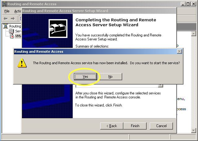 yes, start routing and remote access service
