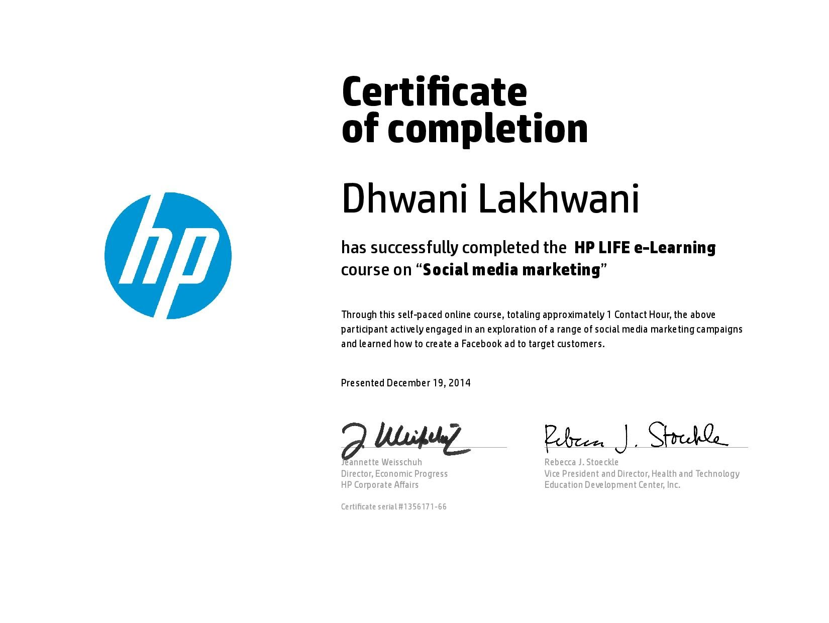 Certificate Of Social Media Marketing Dhwani Lakhwanis E Portfolio