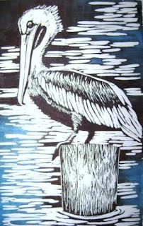"Brown Pelican lino 7"" x 14"""
