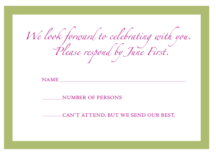 The wording on the response card The CeremonyMandalay Bay Wedding