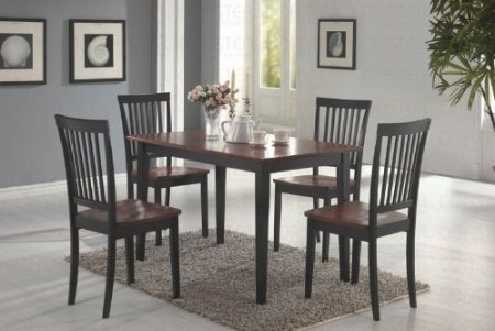 Nice Coaster Piece Dining Set Table Top with Chairs Dirty Oak and black