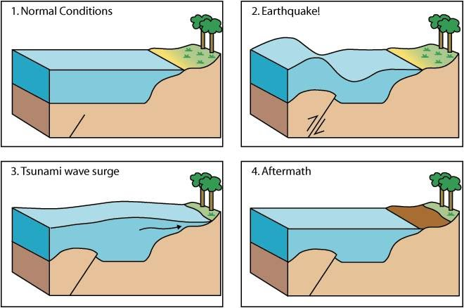 earthquake  amp  tsunami   natural disaster manangementshows normal conditions  note the presence of a pre existing crack or fault in the seafloor