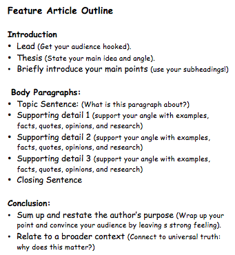 article writing examples for class 8