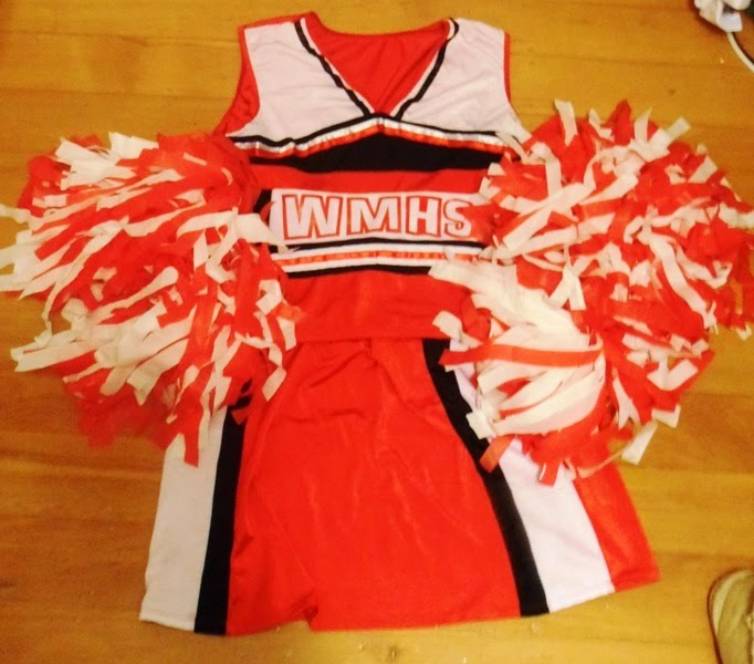 Plastic cheerleader pom poms nice and fluffy diy costumes my costume for the night this glee cheerleader costume was the best cheerleader costume i could find also im a bit of a glee fan i know many of my solutioingenieria Gallery