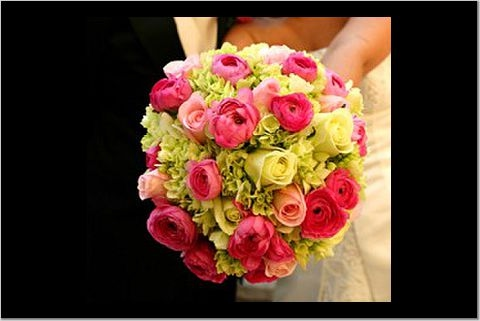 bouquet of open hot pink roses, open esperance roses, green hydrangea,