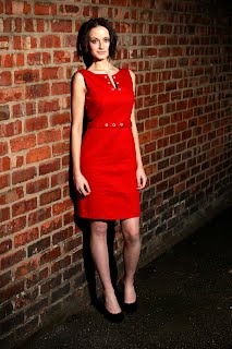 red, cotton , tailored, dresses,