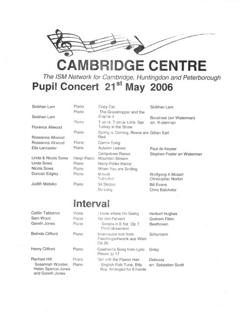 ISM Concert Programme 2006