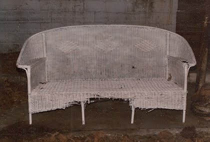 Antique Wicker Sofa Needed Major Skiring And Arm Reconstruction