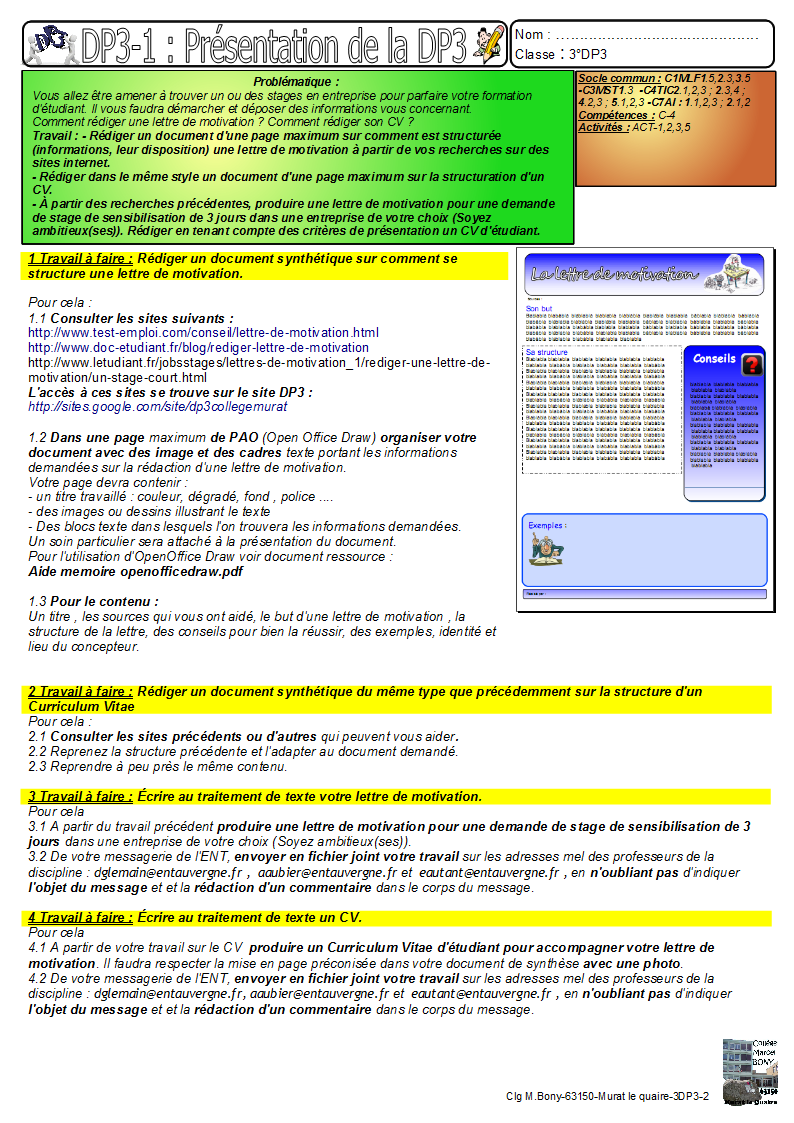 2-dp3-2-lettre de motivation - cv