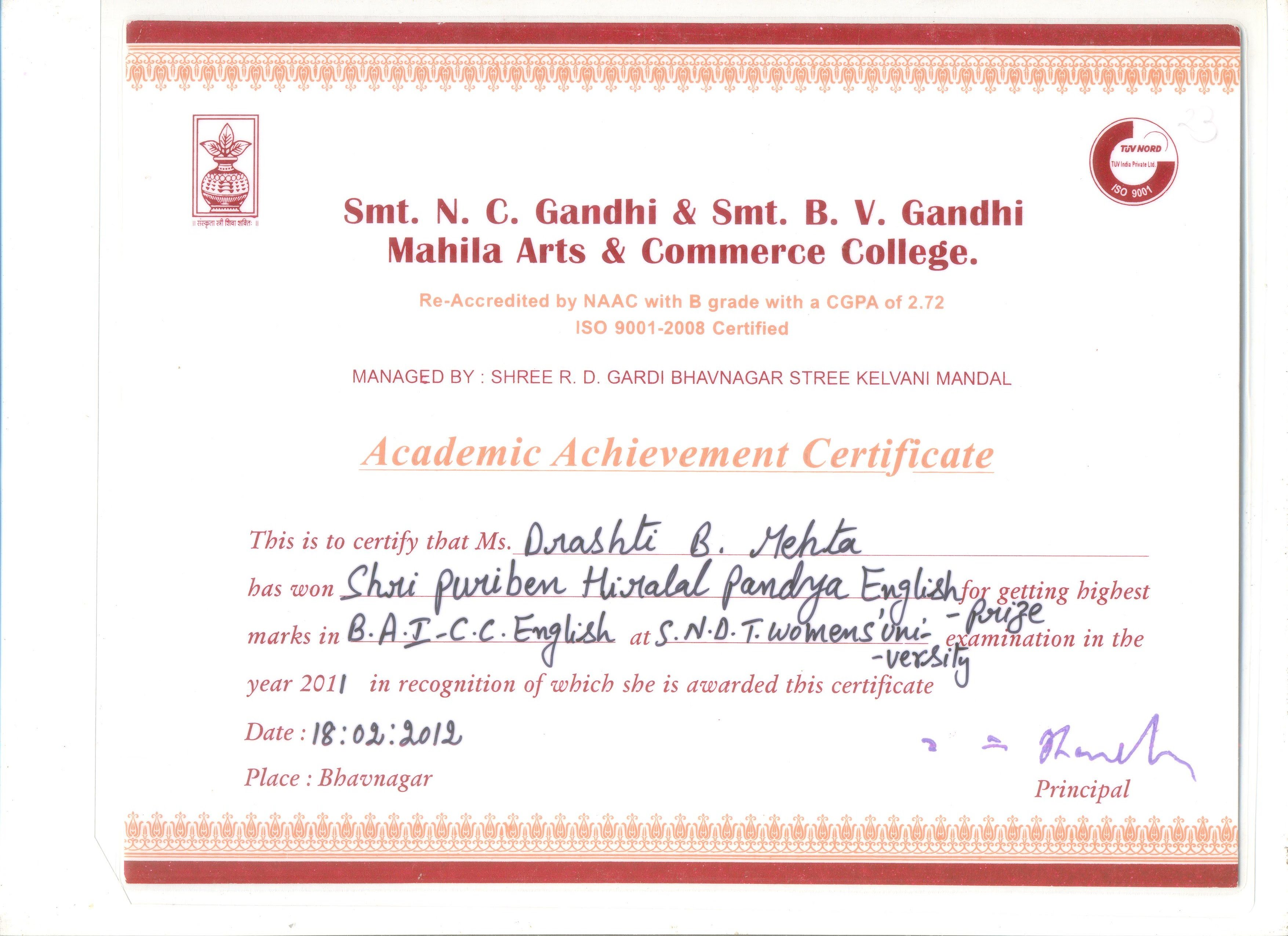 jpg i received a certificate for scoring highest marks in f y b a in c c english course core component course on s n d t women s university mumbai