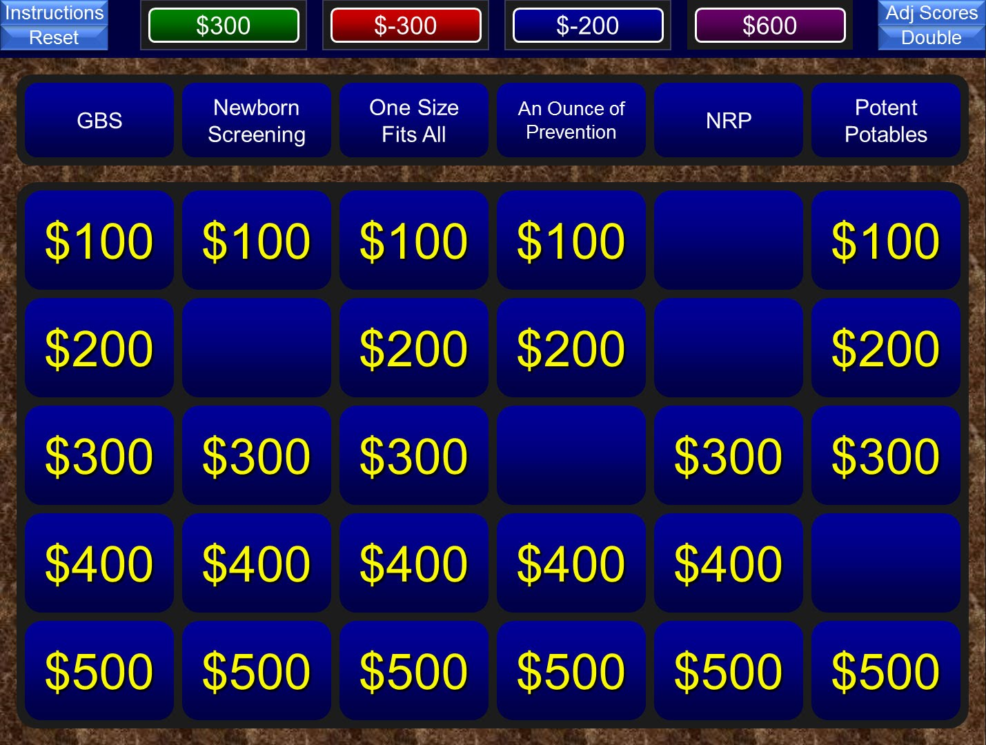 how to make a jeopardy board on powerpoint