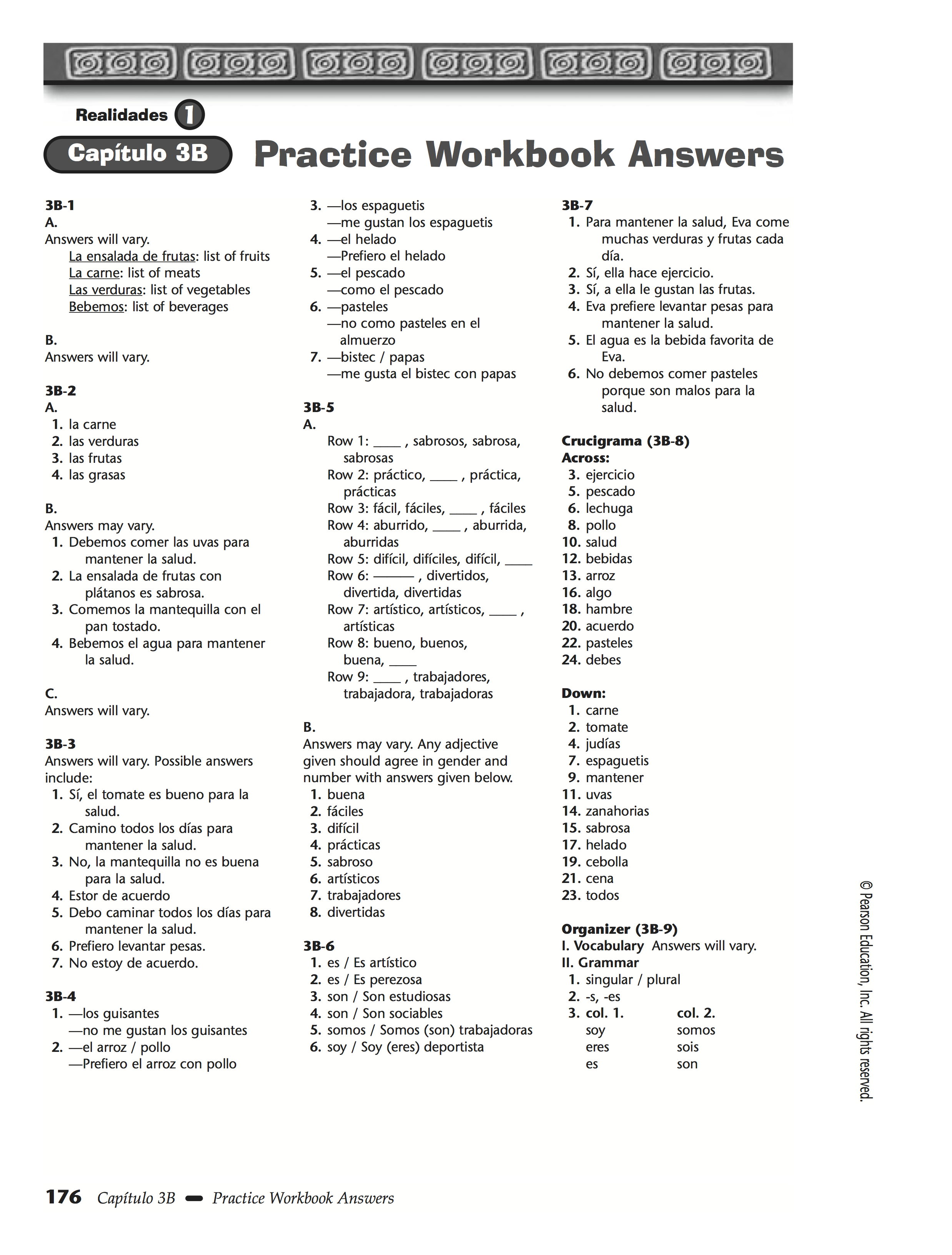 Worksheets Spanish Worksheet Answers chapter 3b 4a 4b practice worksheet answers workbook answers