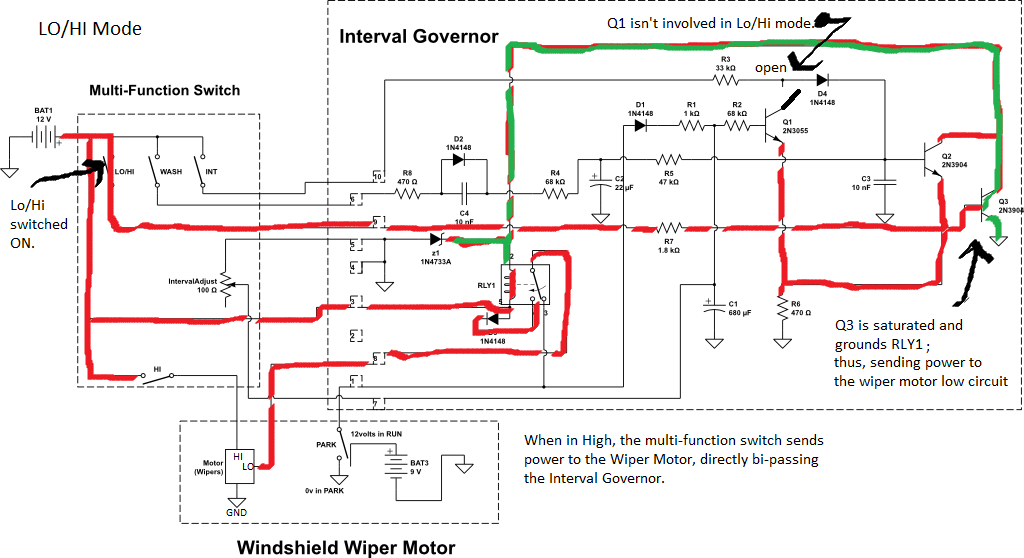 1994 ford ranger interval governor for windshield wiper motor eb 1968 camaro windshield wiper wiring diagram 7 in lo hi mode the wipers work in either high or low, depending on multi function switch