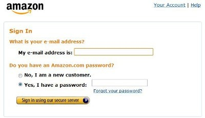 Logging into the Amazon website