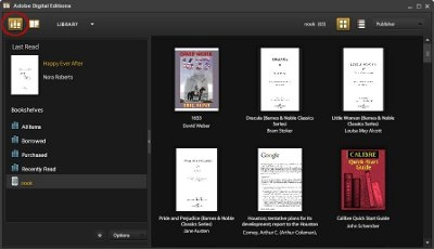 Library View of Adobe Digital Editions