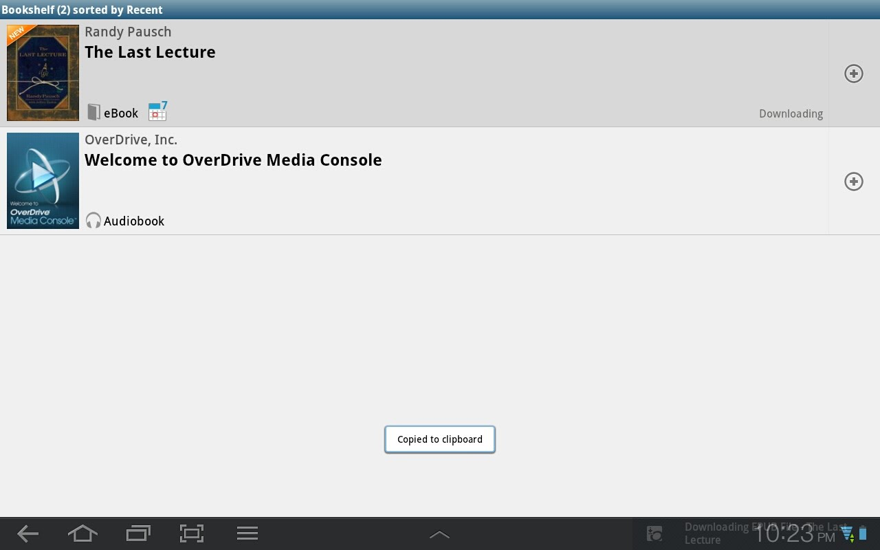 Overdrive App Bookshelf for Android