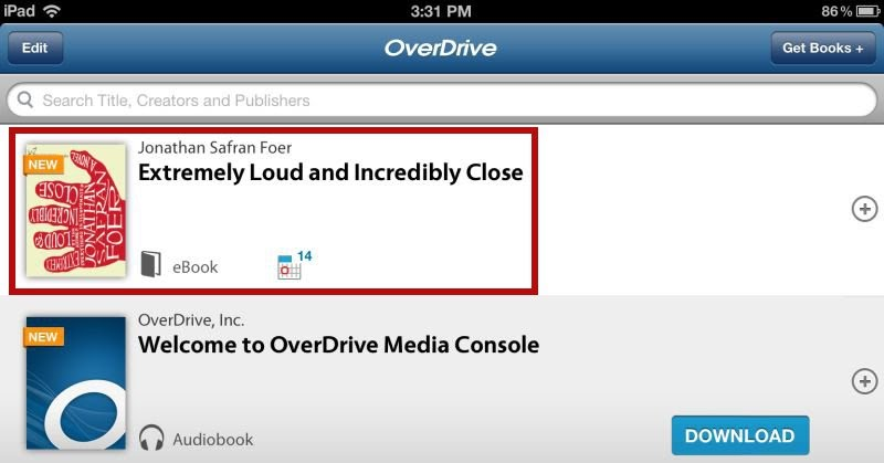 Downloads to OverDrive library - iOS