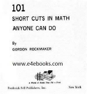 101 Short Cuts In Maths Any One Can Do  Free Ebook Download