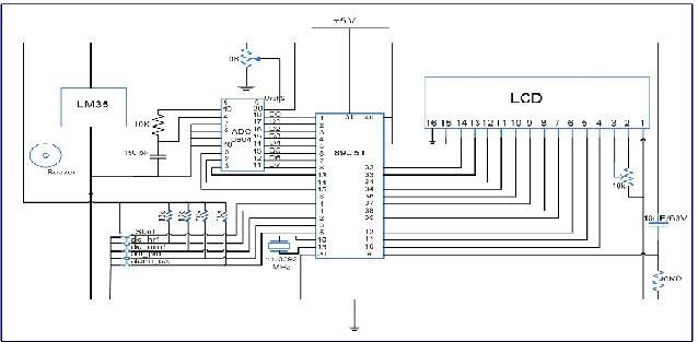 temperature controller using microcontroller circuit diagram
