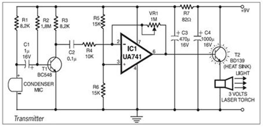 circuit diagram laser communication system eceprojectslaser communication system project report
