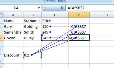 how to use an absolute cell reference in excel