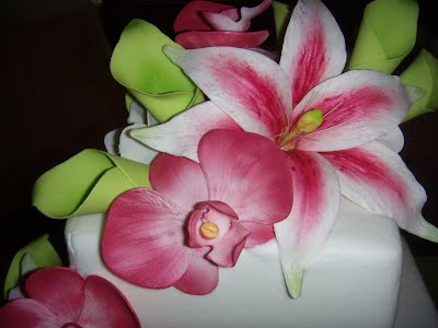Pink Star Gazer Lilies and Paphiopedilum Orchids, Green Calla Lilies