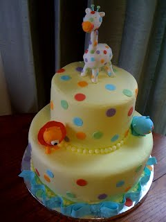 Lion, Seal and Giraffe yellow base dot and blue ribbon