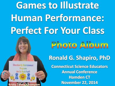 http://www.slideshare.net/DrRonShapiro/games-to-illustrate-human-performance-photo-album-csta-november-12-2014