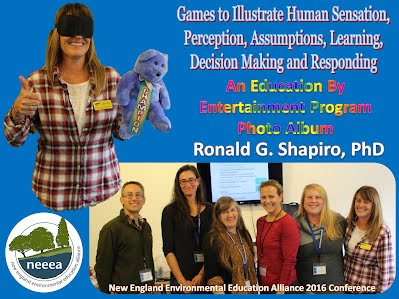 http://www.slideshare.net/DrRonShapiro/games-to-illustrate-human-sensation-perception-assumptions-learning-decision-making-and-responding-photo-album-new-england-environmental-education-alliance-neeeea-litchfield-ct-november-5-2016