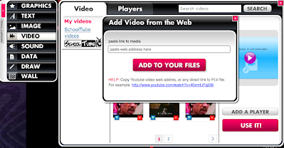 Using URL tool to add video to Glogster
