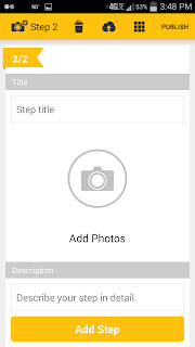 screenshot of Instructable phone app showing add photo interface