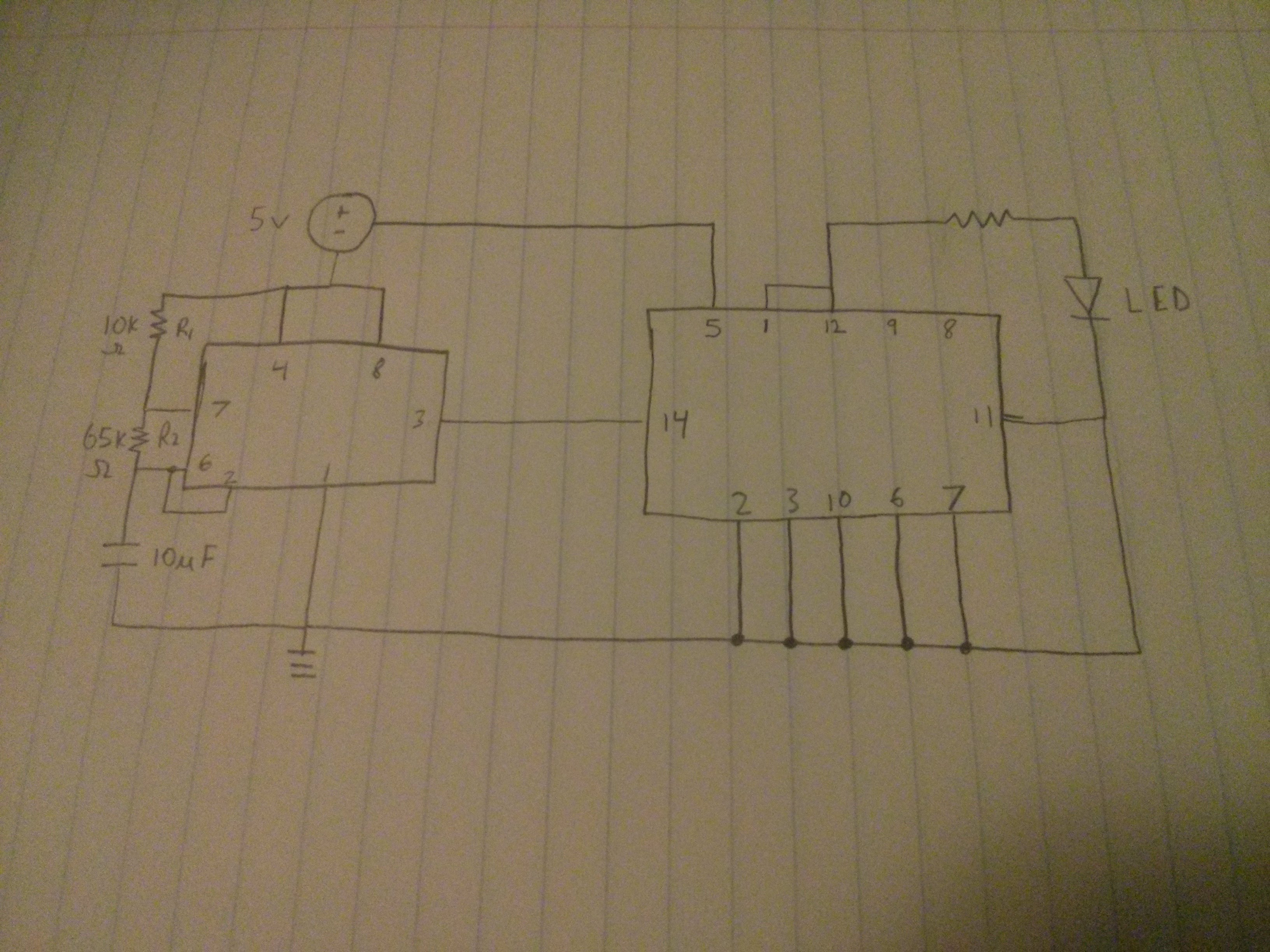 Design Project Elec 163 Elec163595 Jamespham Blinking Led Circuit With Schematics And Explanation Making It Blink About Every One Second Below Is The Schematic Of Our As Well Links To Spread Sheet 555 Timer 7490