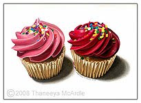Photorealistic painting of cupcakes, by Thaneeya McArdle, http://www.thaneeya.com/pages/shop/shop-original-artwork-ph-05.htm