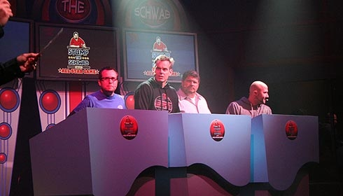 ESPN's Colin Cowherd, 2nd from left, seems to be in shock that he is only a guest in this All-Star Edition of Stump the Schwab during the 2010 edition of ESPN the Weekend