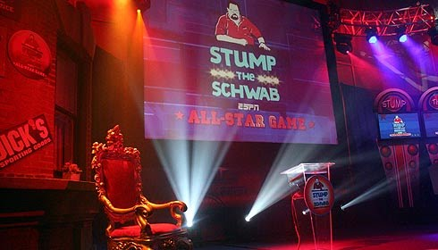 The Stage is Set: The 2010 edition of ESPN the Weekend included several All-Star Editions of Stump the Schwab