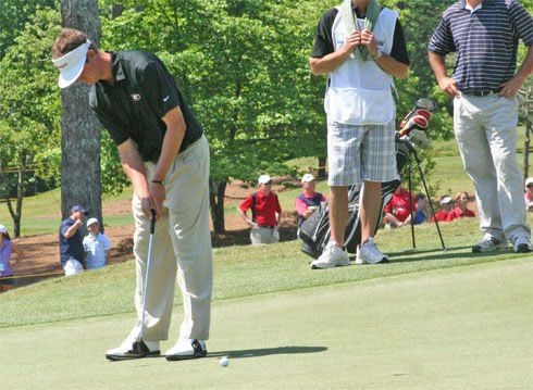 University of Georgia junior Harris English left this short birdie putt high as he attempted to get back to -3 at the Nationwide Tour's Stadion Athens Classic at UGA during second round action