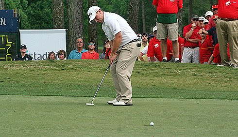 Daniel Summerhays left his par putt left on the 72nd hole of the Nationwide Tour's 2010 Stadion Athens Classic at UGA, allowing Martin Piller to two-putt for the victory on Sunday, May 2, 2010