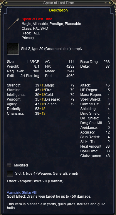 Spear of Lost Time stats
