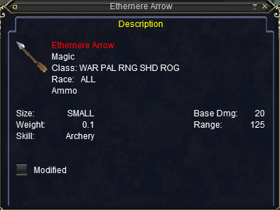 Ethernere Arrows stats