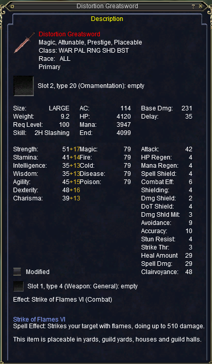Distortion Greatsword stats
