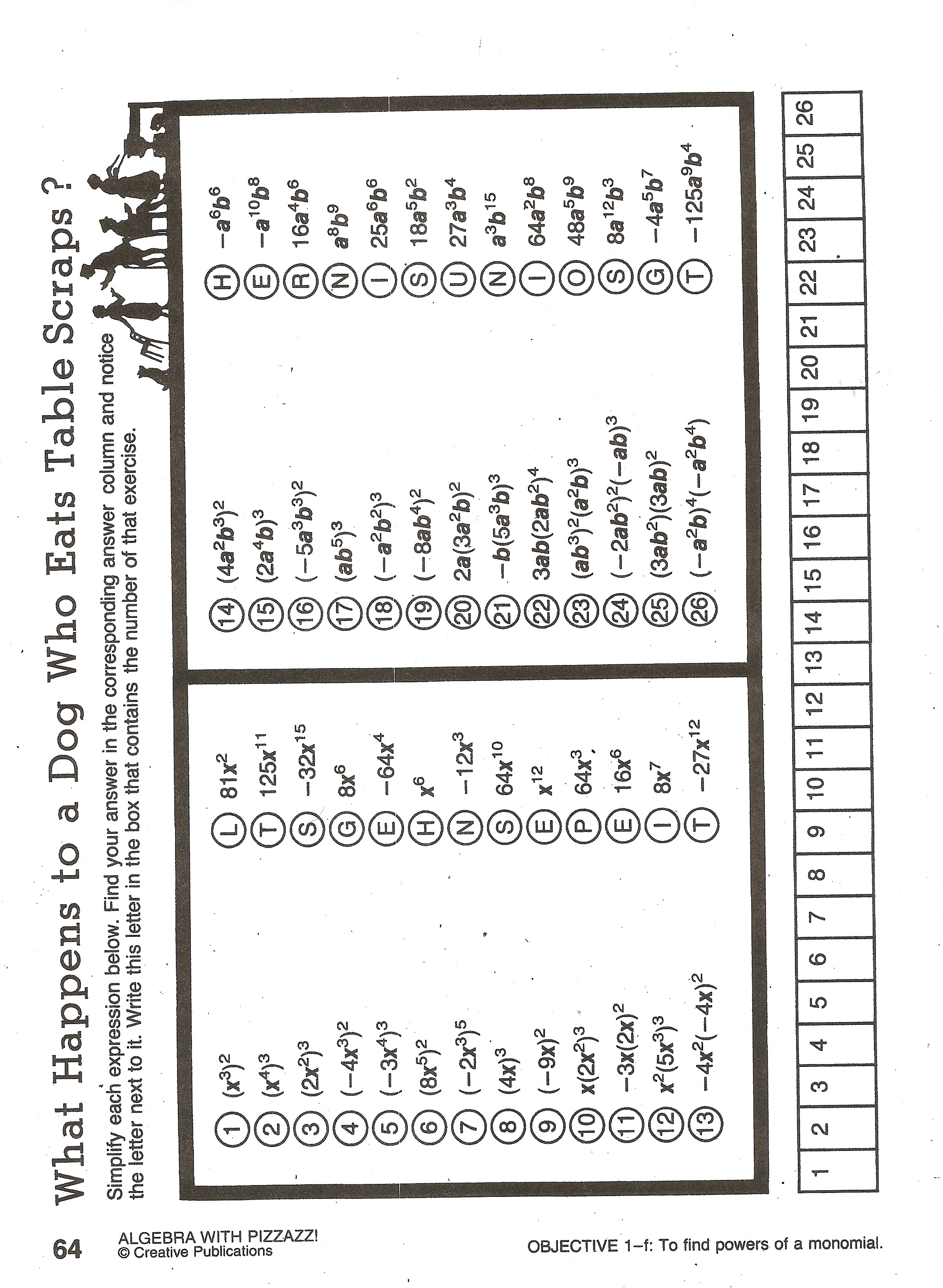 ... Pizzazz Worksheet Answers in addition Algebra With Pizzazz Worksheet