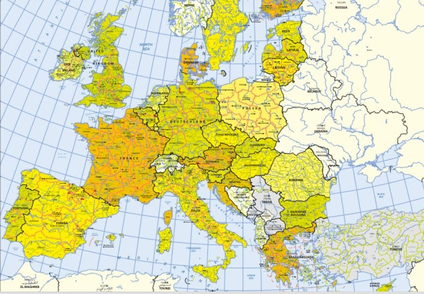 Cartina Europa Geografica.European Civites