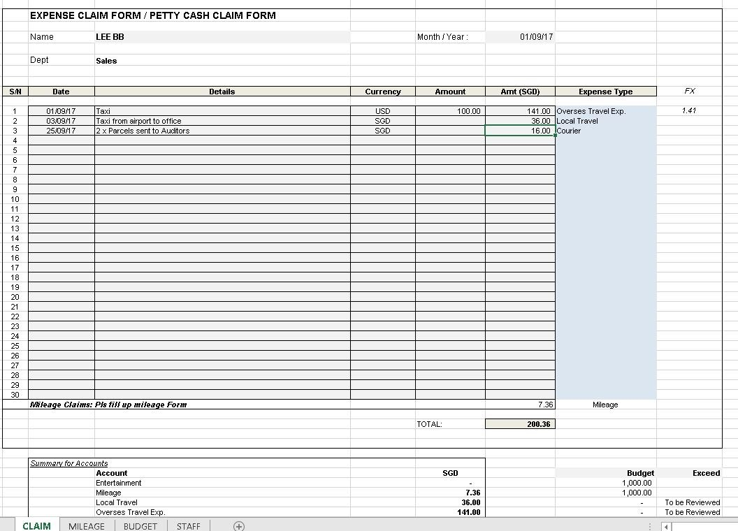Expense Claim Template Excel4routine