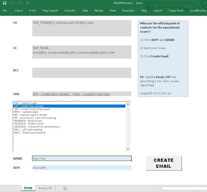 Mail2who Excel Template Include The Correct Point Of Contacts In
