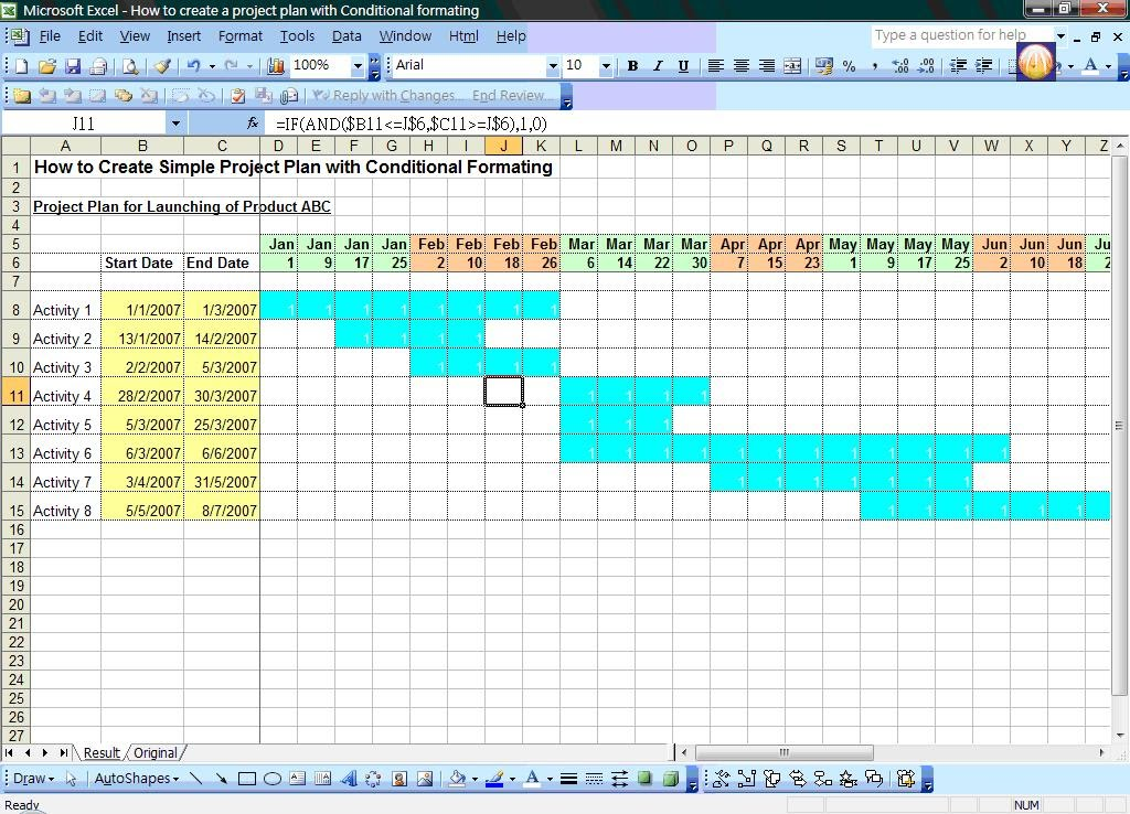 sample project plans in excel