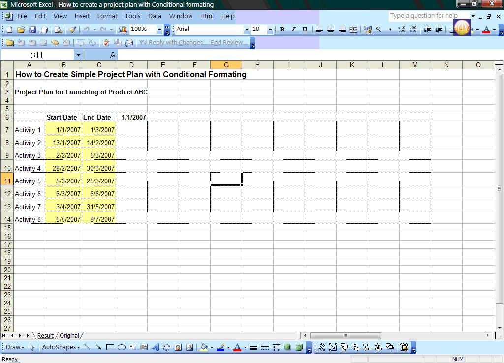 simple project plan in excel