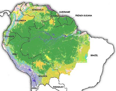 Location exploring the amazon rainforest the green area shown on this map represents the span or area of the rainforest the amazon rainforest is located in the countries of colombia venezuela gumiabroncs Gallery