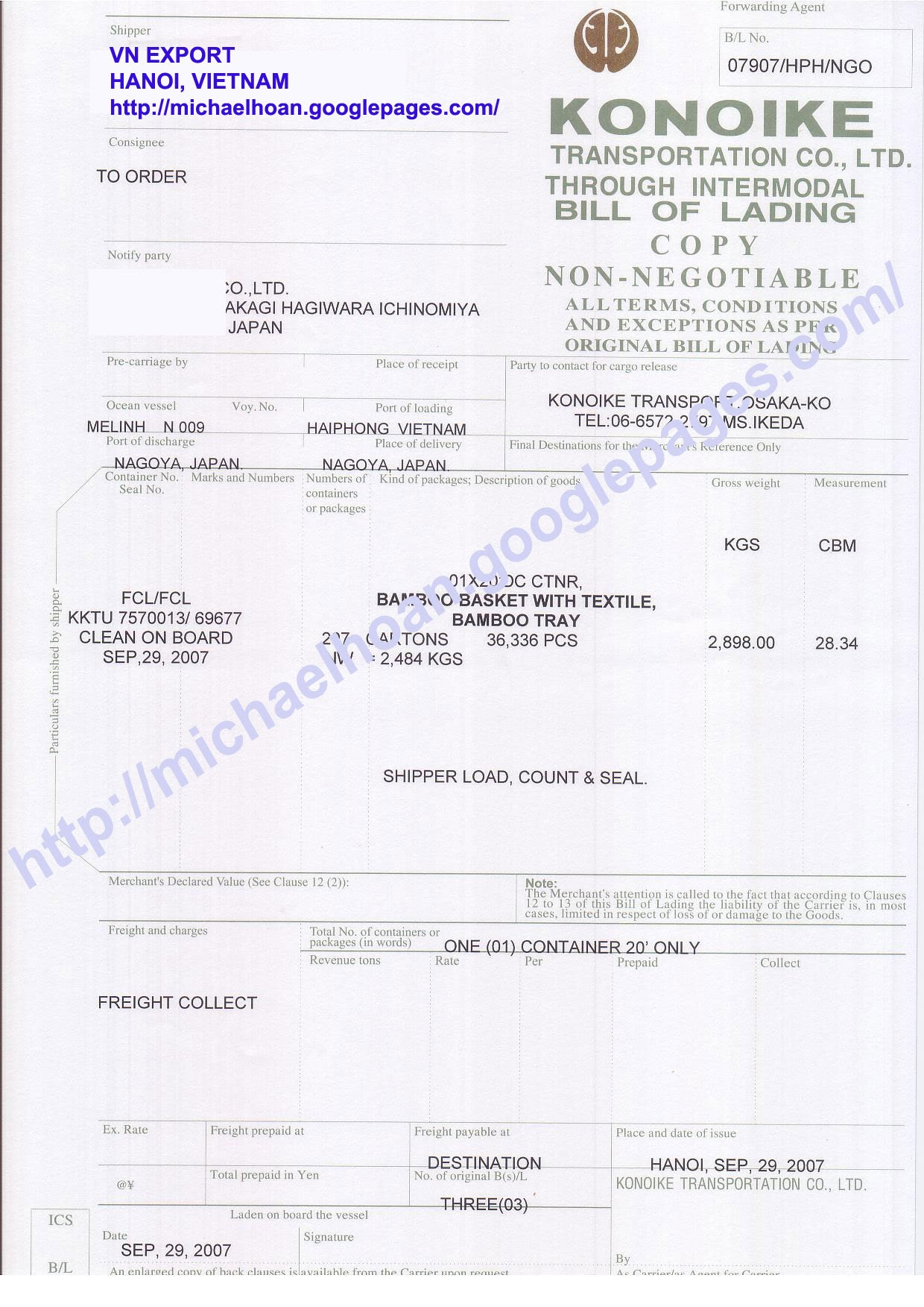 online bill of lading form