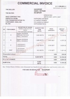 commercial invoice for export