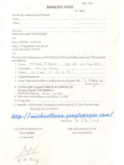 Booking Note Samples Vietnam Import And Export